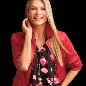 Cabi, #5472, Red Valentine Linen Blend Blazer